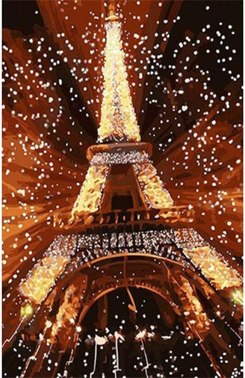 WENXIUF DIY Pintura Al Óleo por Número Kit Regalo, Pintura Paintworks Torre Starlight Paris, Pared Arte Imagen Dibujo con Cepillos, 40X50Cm Marco Festival De Navidad Decoraciones