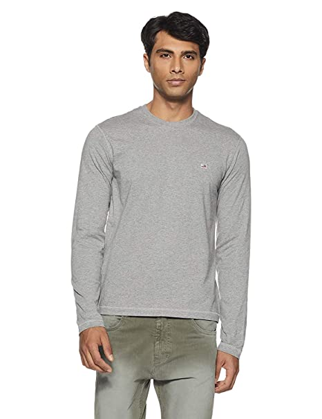 9818bcacf Jockey US82 USA Originals Round Neck Light Grey Men Full Sleeve T-Shirt  (Medium