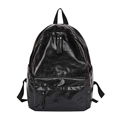 Amazon.com: on Teenager Girls Chain School Backpack PU Leather Shoulder Backpack Travel Ksack Mochilas 2018,Black,B: Shoes