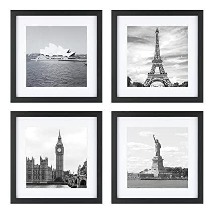 One Wall Upgraded Tempered Glass 4PCs 11x11 Square Picture Frames Black with 1 Mat for 8x8 Pictures Wood Instagram Photo Frames