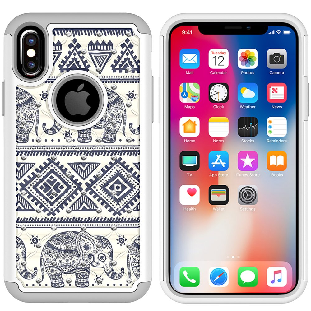 iPhone X Case, MagicSky [Shock Absorption] Studded Rhinestone Bling Hybrid Dual Layer Armor Defender Protective Case Cover for Apple iPhoneX - Elephant