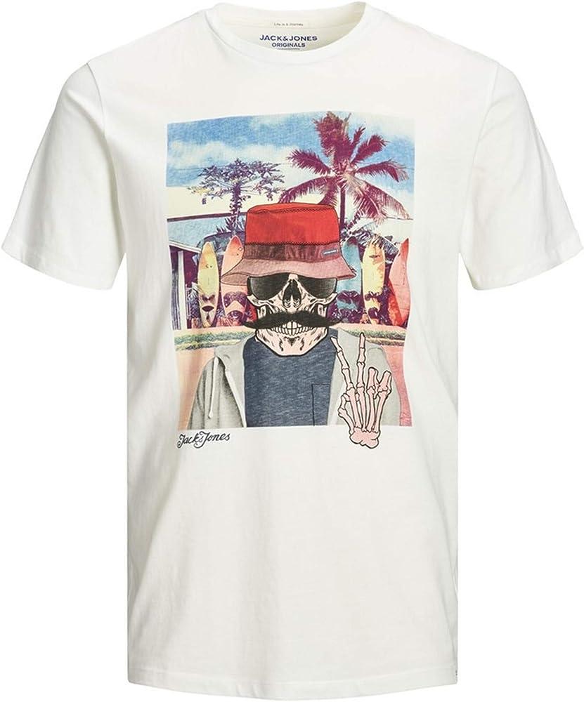 Jack & Jones Jorricky tee SS Crew Neck STS Camiseta, Blanco (Cloud Dancer Fit: Reg), Pequeño (Tamaño del Fabricante: S) para Hombre: Amazon.es: Ropa y accesorios