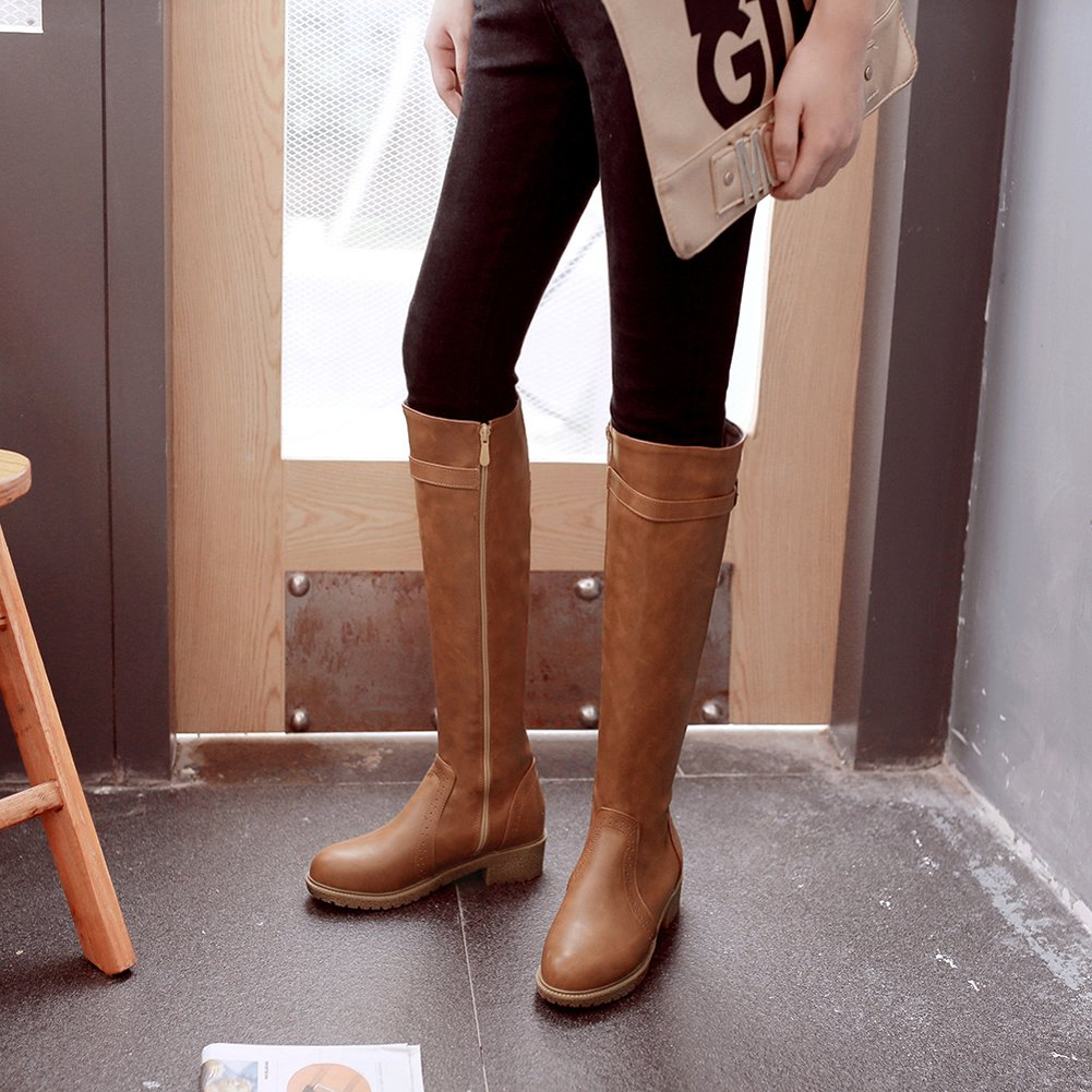 Riding Boots Women Casual Fall Winter Zipper Flat Strap Comfortable Knee High Boots By BIGTREE
