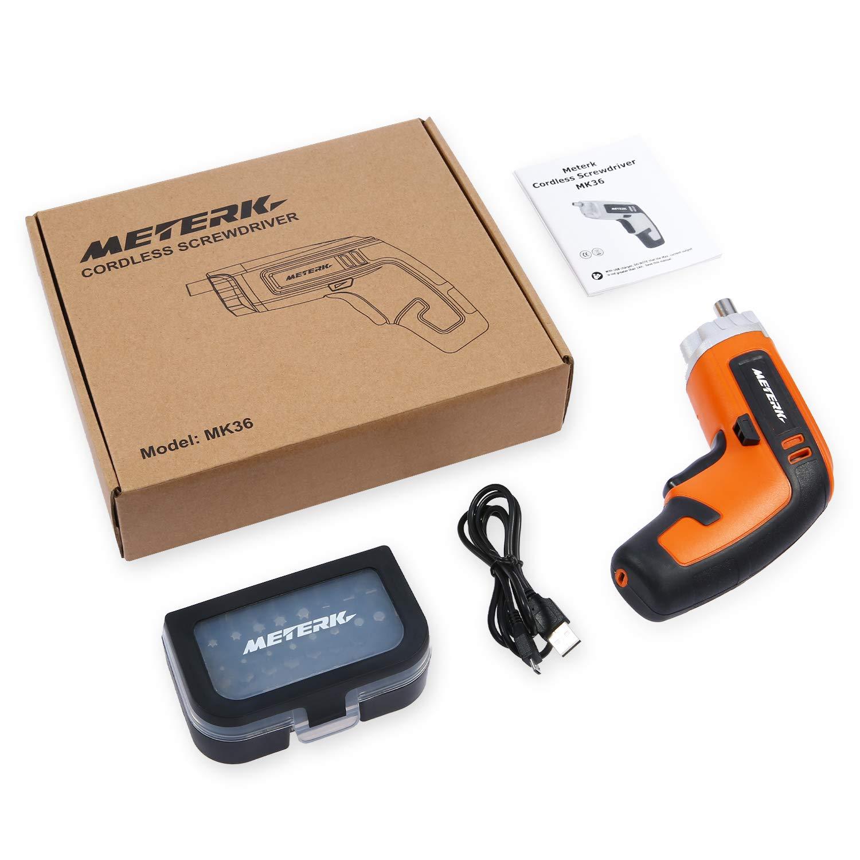 Meterk Cordless Screwdriver 3.6V 2000mAh MAX Torque 5N.m 30pcs Screw Bits, Drill Bit Extension Holder, USB Charging with LED Light by Meterk (Image #9)