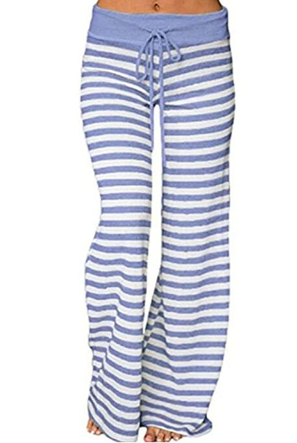 bluee 1 pinklux Women's Stretch Comfy High Waist Drawstring Wide Leg Polka Striped Pajama Pants Lounge