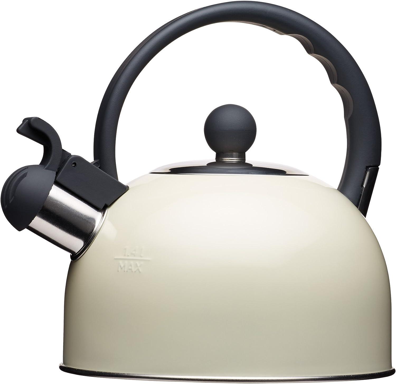 Kitchencraft Living Nostalgia - Tetera de silbadora, para Cocina de inducción y eléctrica, 1,4l (2,5pintas), Estilo Antiguo, Metal, Crema, 18 x 21.5 x 21 cm