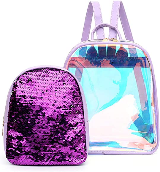 Jascaela Women s 2 in 1 Hologram Transparent Backpack with Mini Sequins Shoulder Bag for Daily Travel Work Daypack Purple