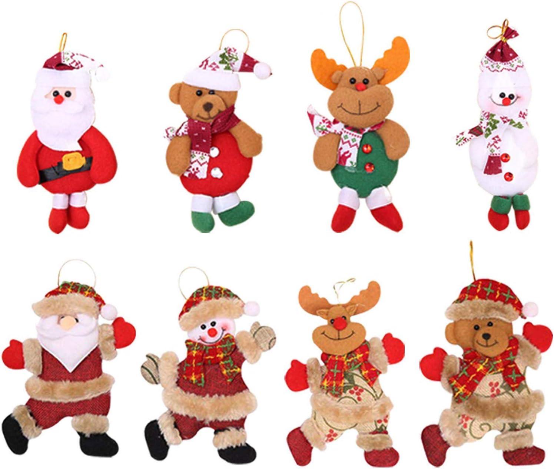 NEW Christmas Santa Claus Snowman Star-shaped Doll Christmas Tree Decoration