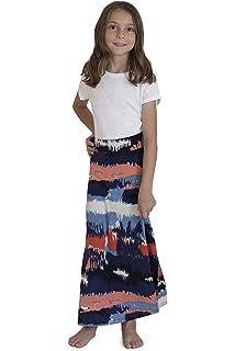 Garden Navy L Amy Byer Girls Big Ruffle Front Maxi Skirt