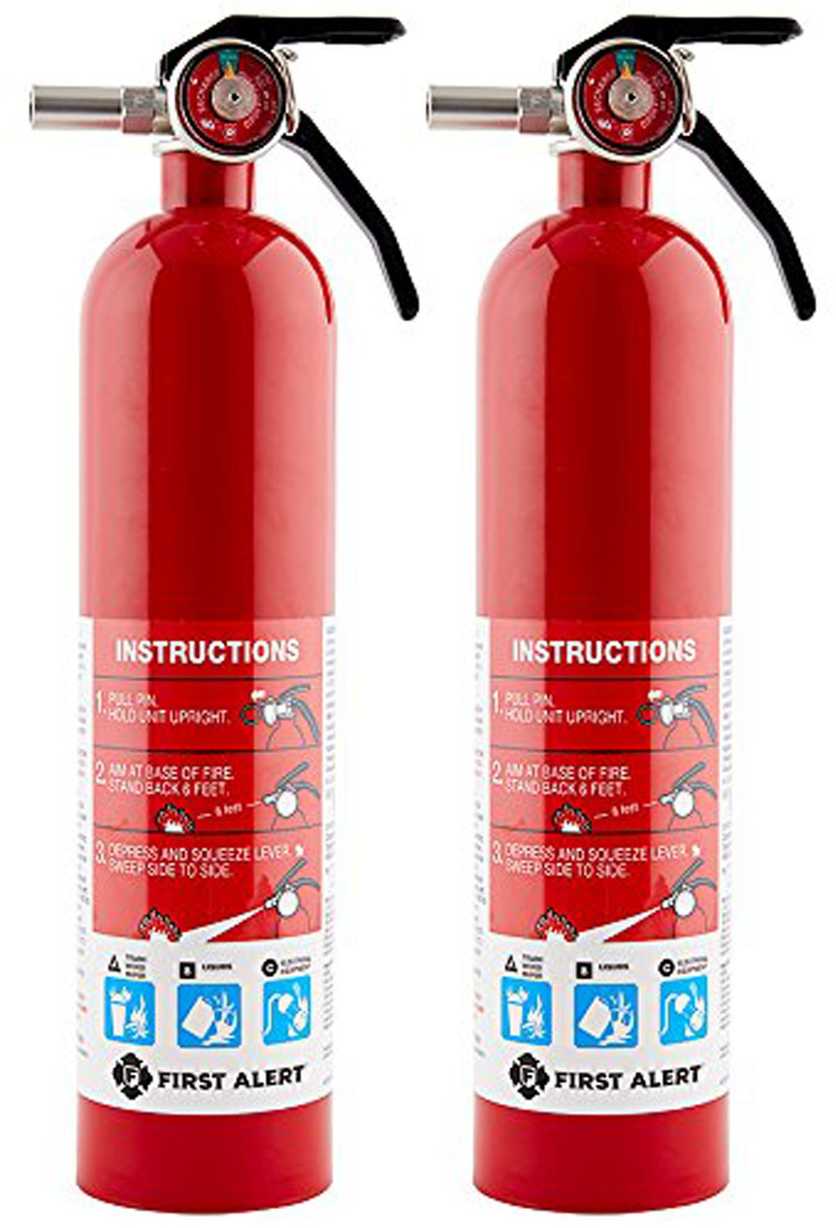 First Alert SDFAEBQ Rechargable Standard Home Fire Extinguisher, Red, 2 Pack
