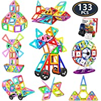Jasonwell 133 Pieces Creative Magnetic Building Blocks for Boys Girls Magnetic Tiles Building Set Preschool Educational Construction Kit Magnet Stacking Toys Christmas Gift for Kids Toddlers Children 3 4 5 6 7 8 9 Years Old