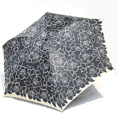ブランド傘 ハナエ モリ HANAE MORI(折りたたみ)黒 バラ ブランド折り畳み傘