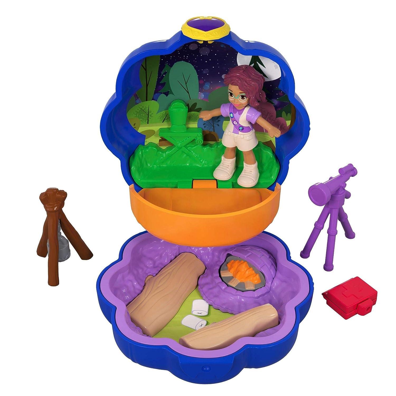 Polly Pocket Mini-Coffret bleu Shani Camping Aventure avec 1 Mini-Figurine et Accessoires Téléscope et Trousse de Secours, Jouet Enfant, édition 2018, FWN40 Mattel