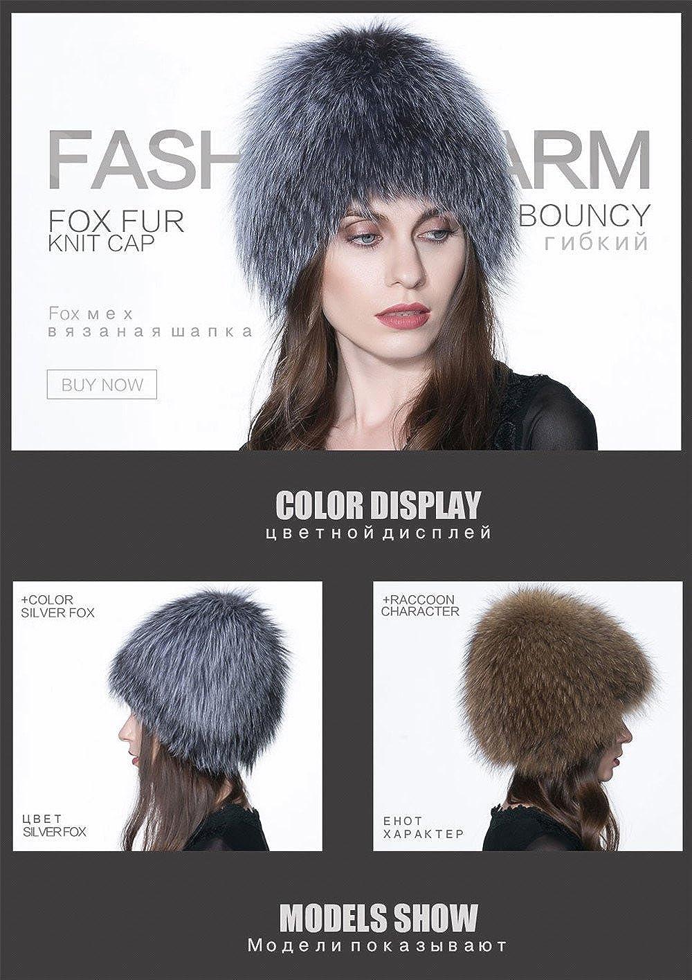 Gegefur Genuine Fox Fur Knitted Women Winter Cap Princess Hat