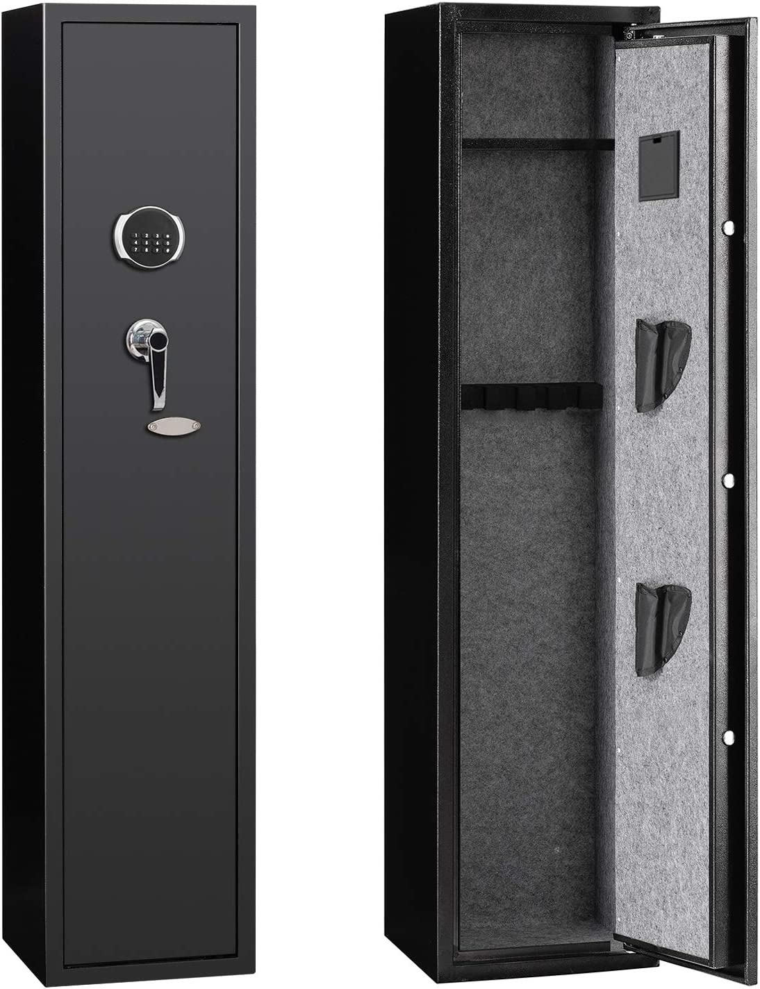 JINS&VICO Rifle Gun Safe, Quick Access 4-Gun Metal Rifle Gun Cabinet with Removable Shelf, All-Round Anti-Static Rifle Safe for Bullets and Valuables, with 2 Pistol Holsters