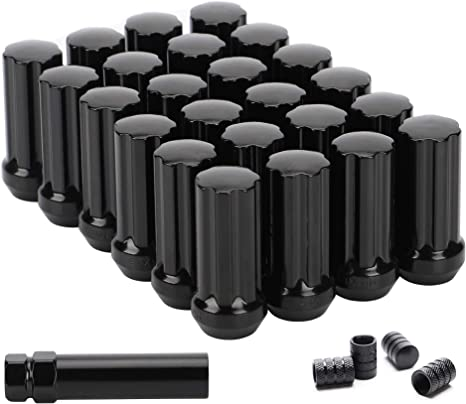"""24 Chevy GMC Extended Lugnuts Black 14x1.5 Closed End XL 2/"""" Tall Long Acorn"""