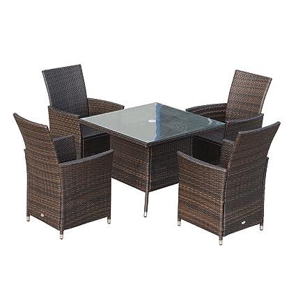 Ensemble Salon de Jardin 4 fauteuils avec Coussins Assise + Table ...