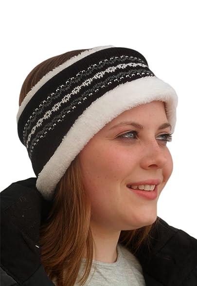 Unisex Luxury Fairisle Thermal Headband. Black: Amazon.co.uk: Clothing