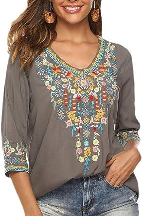 ShuangRun Blusa Tipo túnica Mexicana Estampada Bohemia Bordada Floral para Mujer