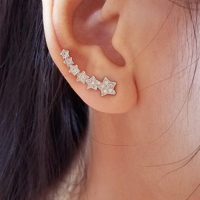 LAXPICOL Sparkly CZ Zircon Fashion Star Meteor Wrap Earring For Women Girls