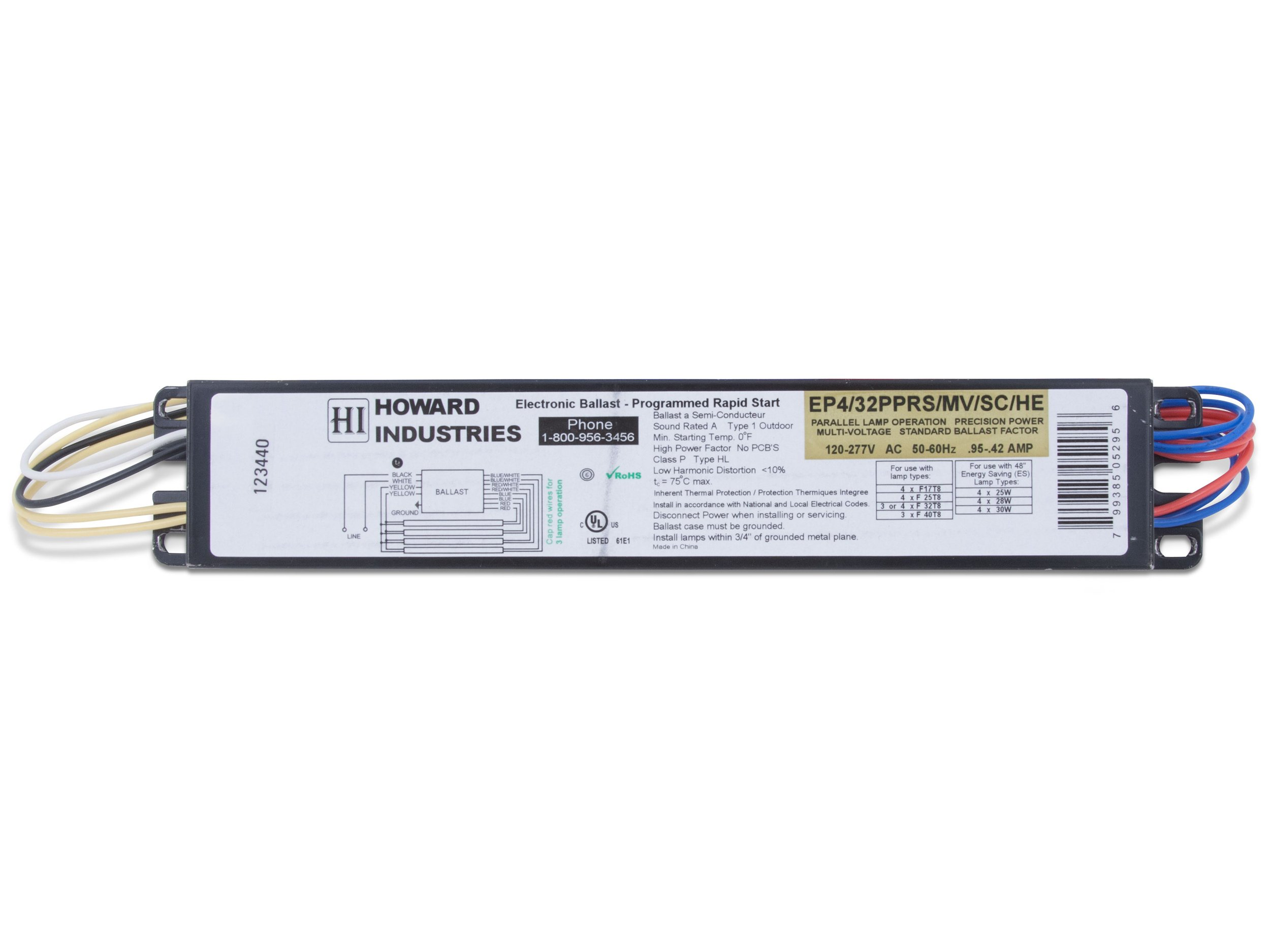 Howard Lighting EP4/32PPRS/MV/SC/HE Products 4 Lamp F32T8 Electronic Ballast