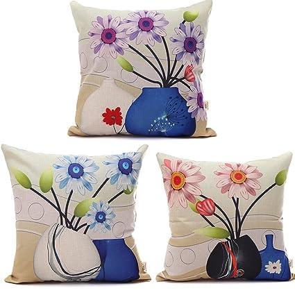 Amazon Hosl C6 Cartoon Flowers In A Vase Decorative Throw