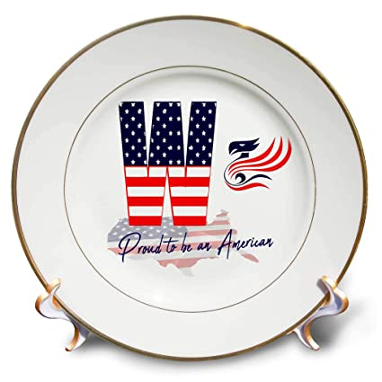 8-Inch 3dRose cp/_17510/_1 Eagle with American Flag-Porcelain Plate