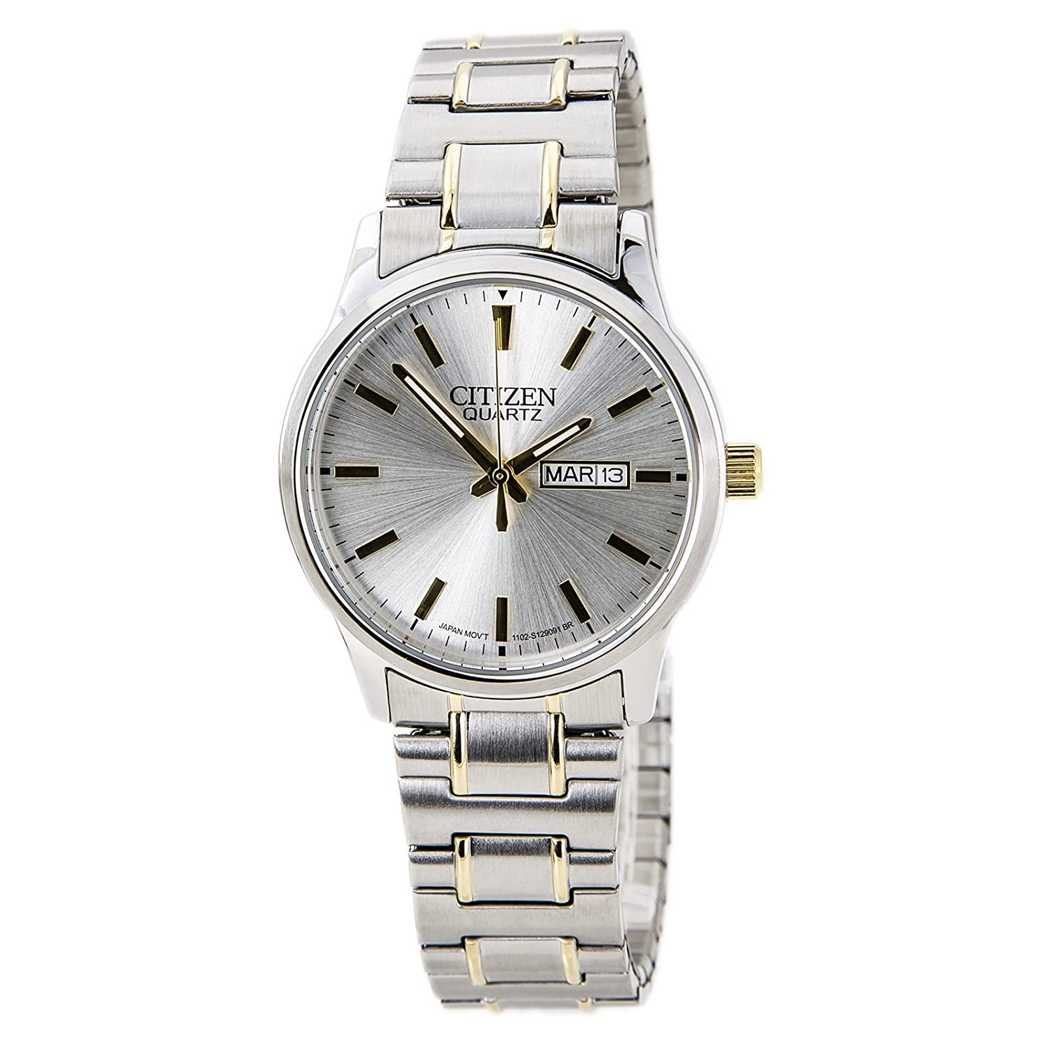 d9ac340c5e4c Amazon.com  Citizen BF0614-90A Men s Easy Reader Silver Dial Two Tone  Expansion Steel Band Watch  Watches