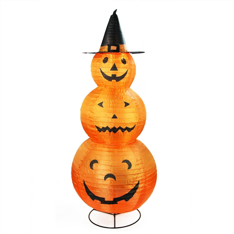 Northlight Pre-Lit Black Pumpkins with Witch Hat Halloween Yard Art Decoration, 48'', Orange