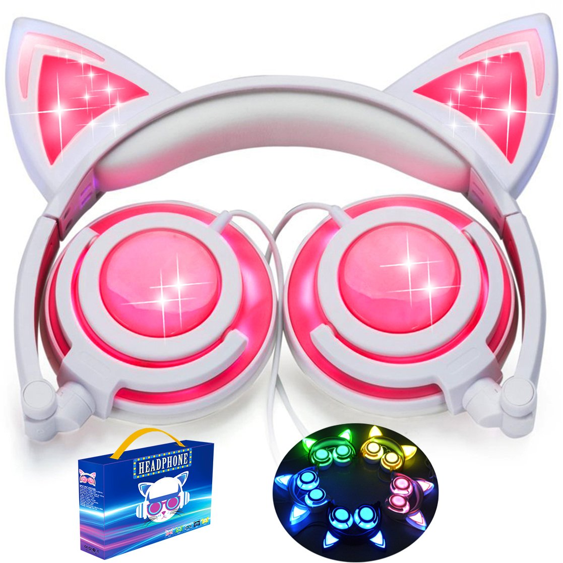 [Upgraded Version]Cat Ear Kids Headphones with LED Light 85dB Volume Limited iGeeKid Foldable Over/On Ear Headsets for Girls Boys Phone Tablet School Travel Outdoor Children Musical Device (001Pink)