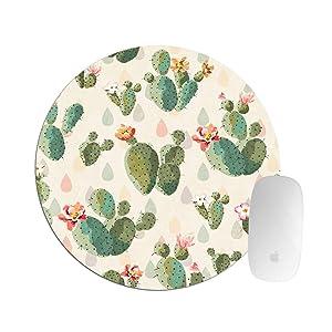Abili Cactus Mouse Pad Office Decor Mousepad Plants Office Desk Accessories Round Mouse Pad Mousepads