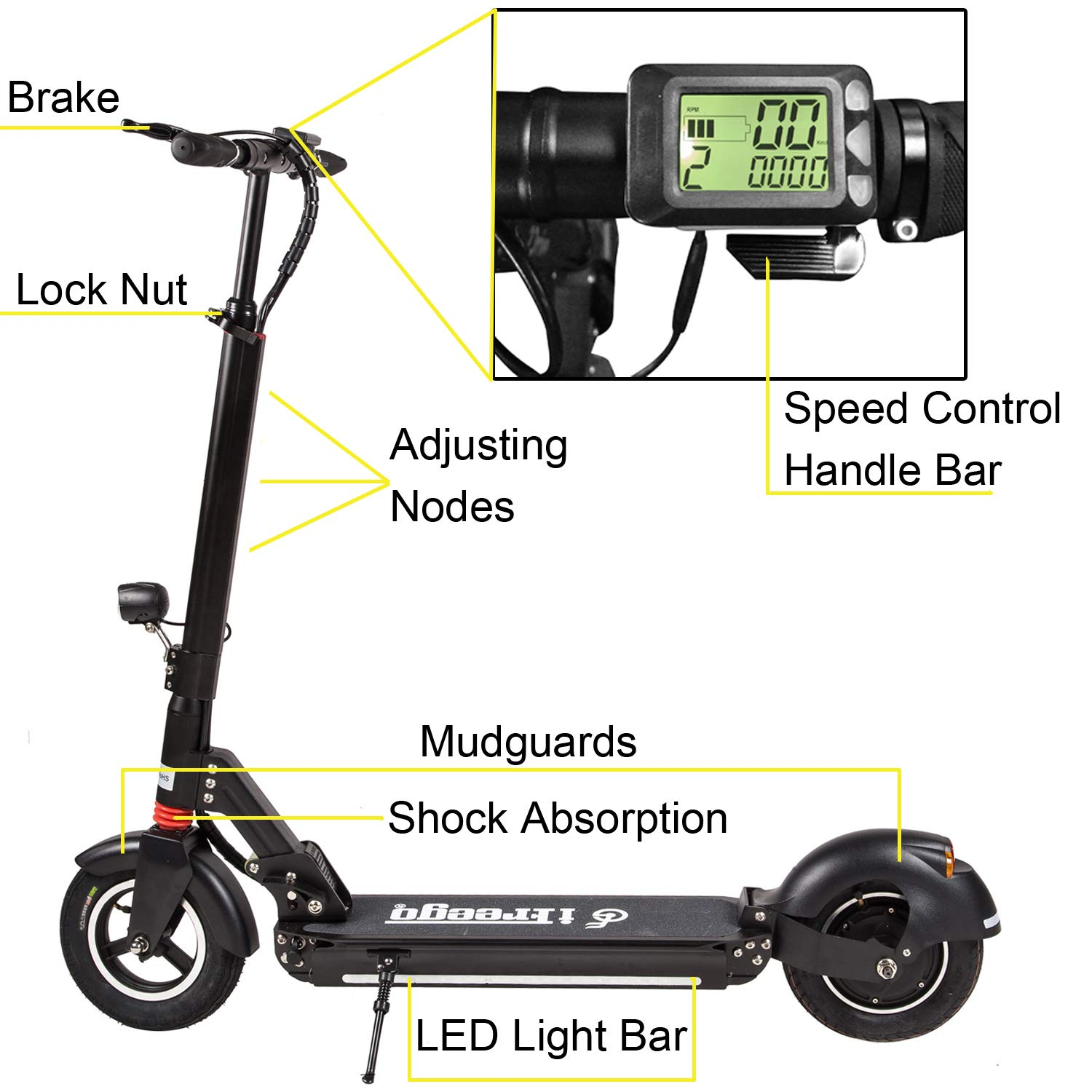 Freego 10 Inch Folding Electric Kick Scooter 3 Block Basic Wiring Diagram Speed Height And Double Shock Absorption Sports Outdoors
