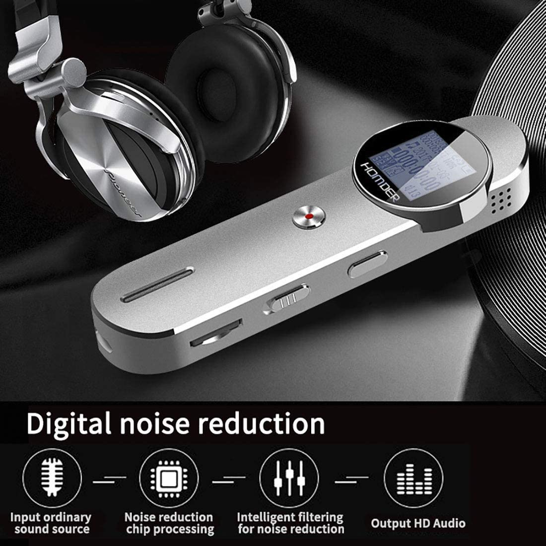 Homder 1536kbps 8GB Voice Activated Recorder for Lectures//Meetings//Class Supports 72GB TF Card Expansion Digital Voice Recorder Silver Stereo HD-Audio Recording Device with Dual Microphone
