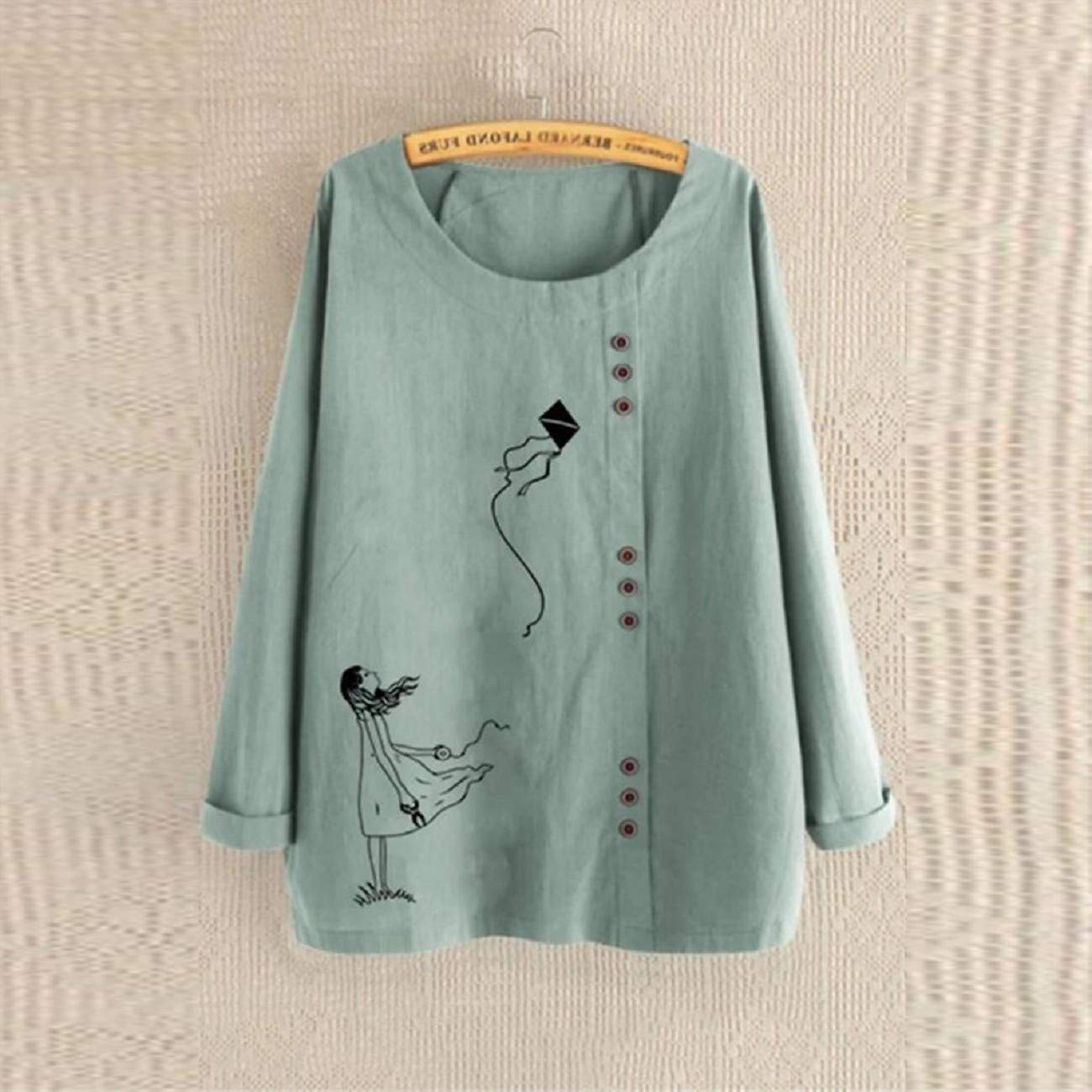 Stylish Plus Size Round Neck Long Sleeve Button Down Pullover Tunic Tops Blouse JKLING Women Graphic Print T-Shirts