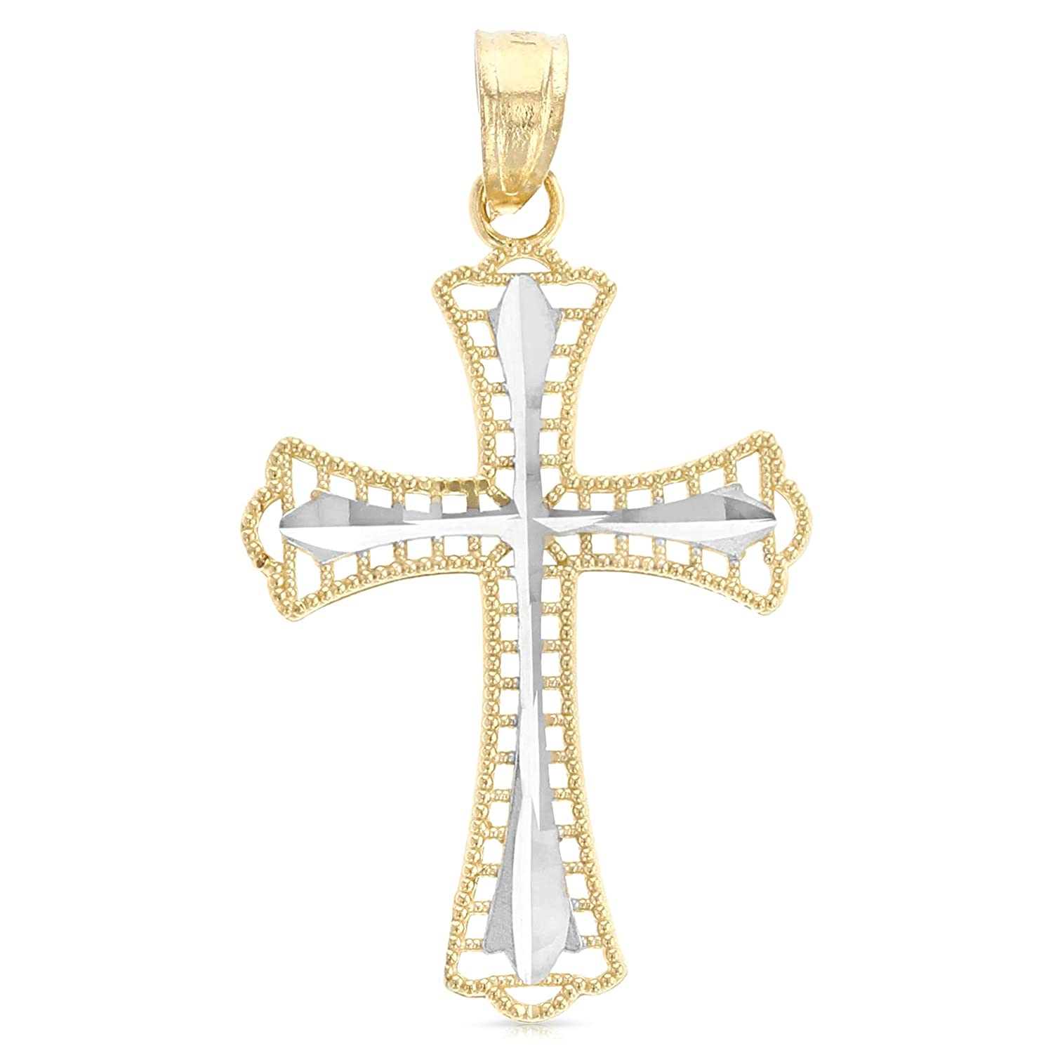 14K Two Tone Gold Religious Cross Charm Pendant with 0.8mm Box Chain Necklace