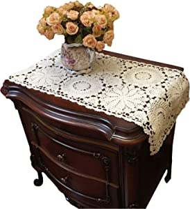 USTIDE 2pc Rustic Floral Table Runner Hand Crochet Table Placemats Beige Cotton Table Doilies Runners,15.7inchesx31.5inches