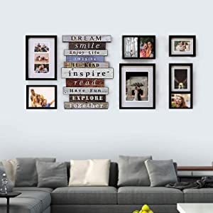 Jerry & Maggie - Luxury 7 Piece of | Photo Frame | Wall Decor Bar - Wall Decor Combination - Gold Black PVC Picture Large Frame Selfie Gallery Collage Wall Hanging System - Wall Mounting Design