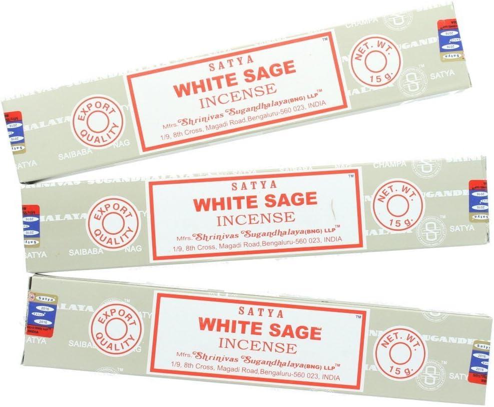 Varillas de incienso Salvia Blanca, 3 paquetes, por Satya Nag Champa