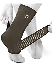 KARM Achilles Tendonitis Foot Sleeve for Sprained Ankle with Compression Wrap (1 pc) - Best for Stabilizing, Heel Spur, Arch Support, Swelling. Plantar Fasciitis Sock for Women, Men (One Size)