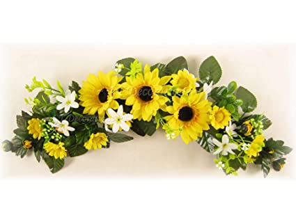 Amazon sunflower artificial silk flowers swag slim table sunflower artificial silk flowers swag slim table centrepiece for wedding car home from mightylinksfo