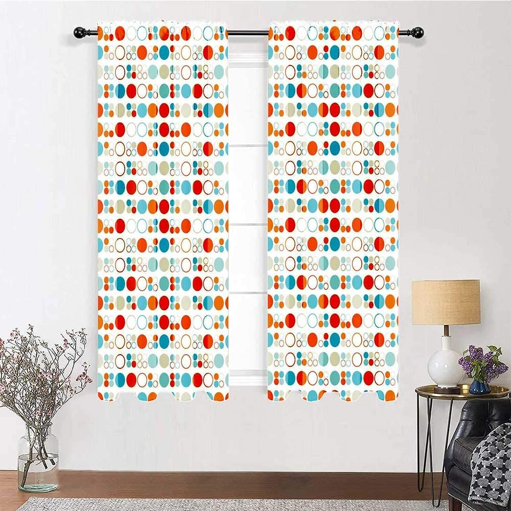Living Room Curtain Full Light Blocking Drapery Panels Simplistic Colorful Circles Rings Ovals Rounds Baby Nursery Kids Playroom Design Home/Office Artistic Décor 2 Rod Pocket Panels, 38