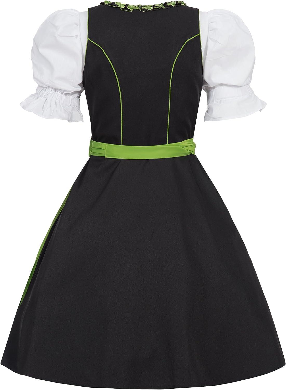 Gaudi-Leathers Dirndl Lot de 3 Robes de Costume Traditionnel Ilona Noir avec Tablier 5 Couleurs Disponibles
