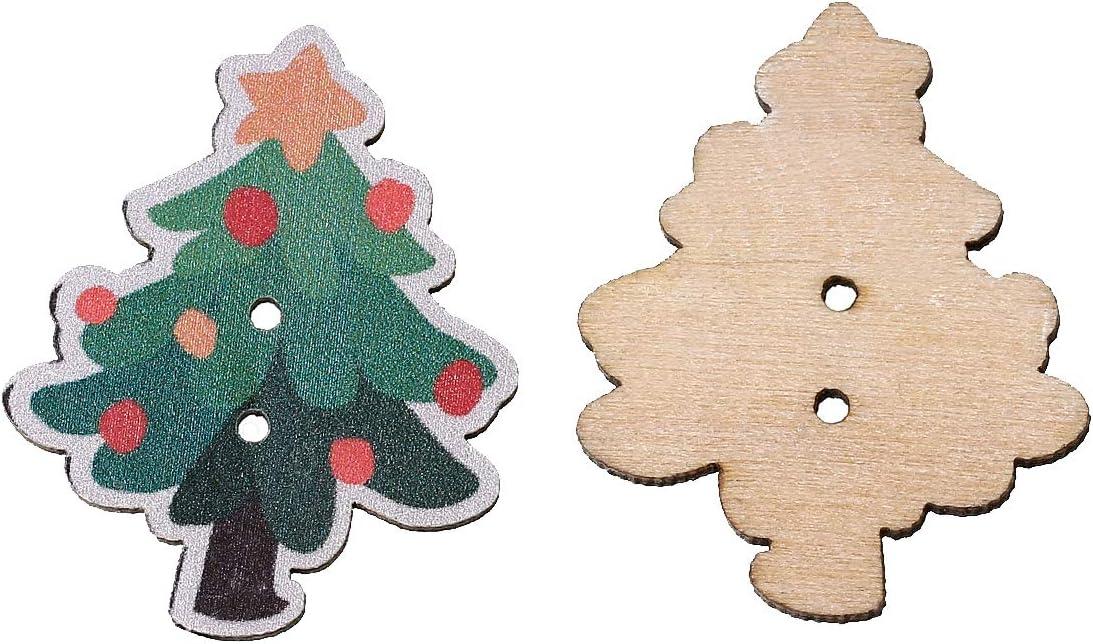 Pack de 10 botones de madera para árbol de Navidad, manualidades, costura, álbumes de recortes, tarjetas de felicitación: Amazon.es: Hogar