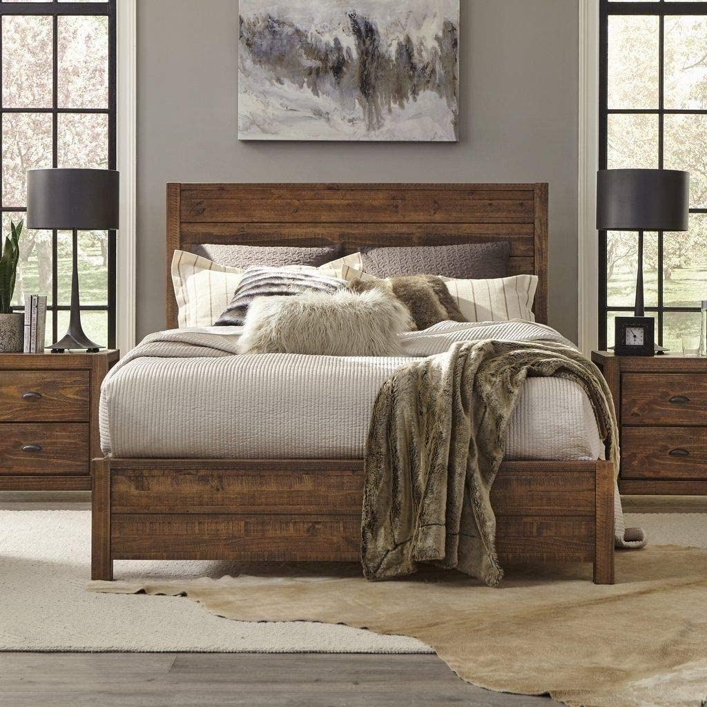 Rustic Platform Bed Frame with Headboard Offers Classic Style and Contemporary Function. Solid Wood Queen Size Panel in Distressed Walnut Creates Timeless Feel   Farmhouse Decor Bedroom Furniture