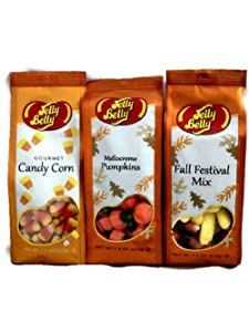 Jelly Belly Three Bag Combo Set Candy Corn Mellocreme Pumpkins & Fall Festival Mix 7.5 Oz Gluten Free Kosher Candy