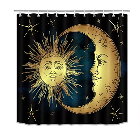 Amazon Com Lb Sun Moon Star Shower Curtain Set Black Bathroom