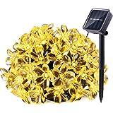 LE® LED Solar Blumen Lichterkette 50 LEDs 7m, Wasserdicht, Warmweiß, tragbar, mit Lichtsensor, Außenlichterkette, Weihnachtsbeleuchtung, Solarlichterkette für Hochzeit, Party