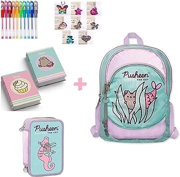Mochila escolar Pusheen The Cat 3 con cremallera redonda original nueva colección + Estuche de 3 pisos completo + Diario de bolsillo + Llavero + 10 bolígrafos con purpurina + marcapáginas: Amazon.es: Equipaje