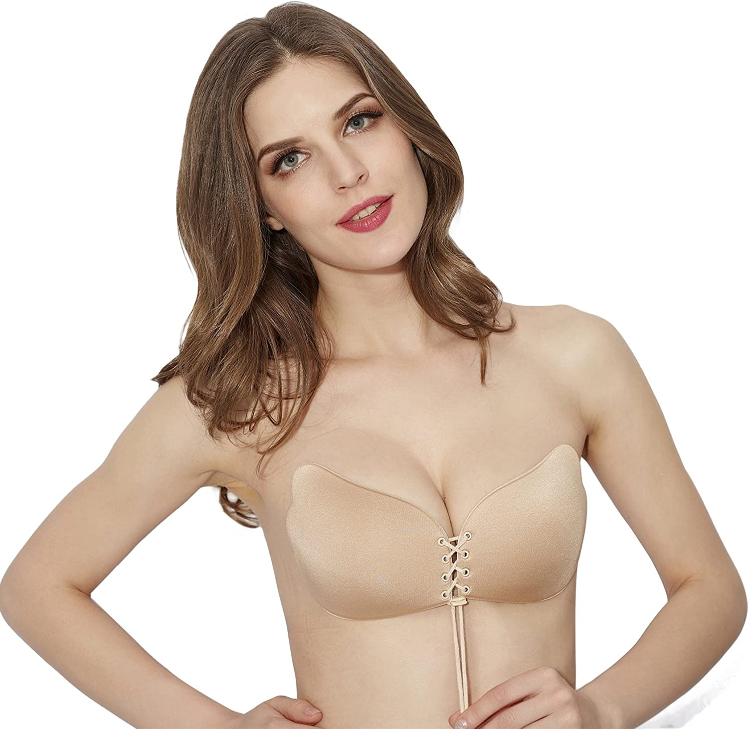 BUOCEANS Adhesive Bra Reusable Backless Strapless Invisible Push-up Bra with Drawstring