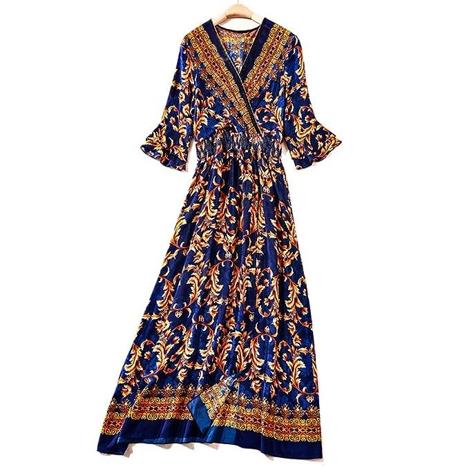 Vestido de Temperamento de Mujer Vintage Royal Palace Temperament v Cuello Vestido de impresión de Falda